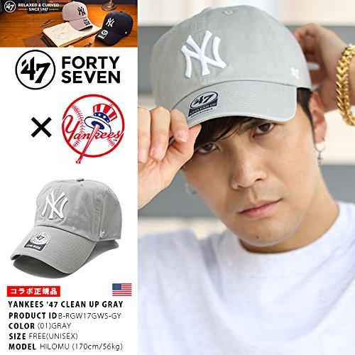 【B-RGW17GWS-GY】 ニューヨーク ヤンキース フォーティーセブンブランド 47BRAND ローキャップ 帽子 CAP MLB メジャー NY 刺繍 正規品 (01)グレー Fサイズ