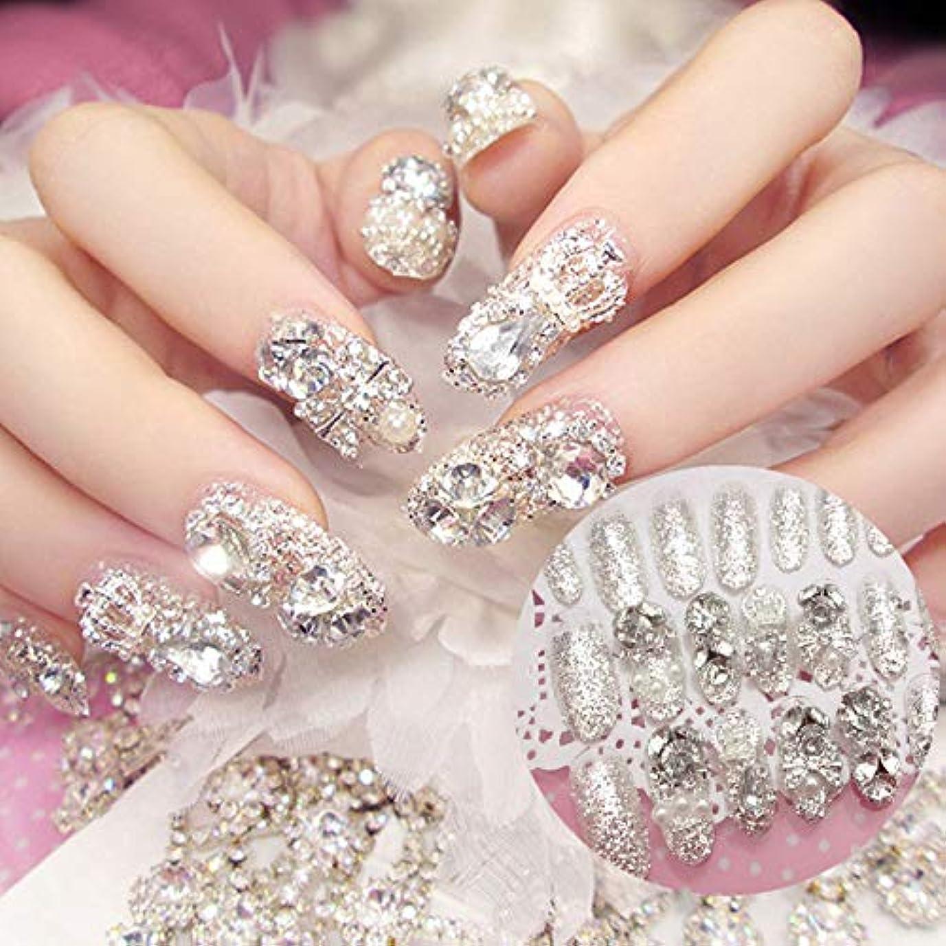 重要な十代農学XUTXZKA 24本の輝くラインストーンの結婚式の偽の爪透明グリッタースクエアフルショートフェイクネイル花嫁