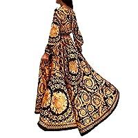 女性フローラルプリント春自由奔放に生きるのドレス長袖Vネックロングドレスビーチホリデークラブドレス、印刷、XL