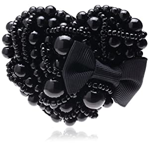 [ジョエル ガニャール] Joelle Gagnard beads ribbon heart clip-black 12SM25-2