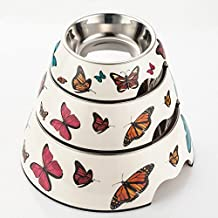 Lovke Practical 2 in 1 Butterfly Pattern Plastic Stainless Steel Non Slip Pet Dog Cat Bowl Pets Feeding Watering Supplies_L