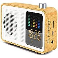 クロックラジオデジタルFMアラームラジオクロックUSB充電ポート、LEDディスプレイ、調光器、スリープタイマー、スヌーズバッテリー予備の寝室、テーブル,maplegrain