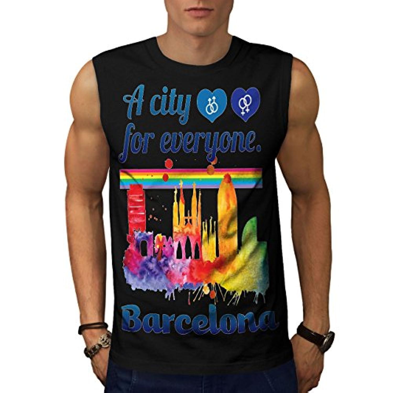 Wellcoda ゲイ 誇り 愛 バルセロナ 男性用 S-5XL 袖なしTシャツ