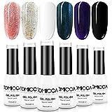 TOMICCA 6 Colours Gel Polish for Nail Art Design, Glitter Effect UV LED Soak Off