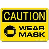 Hypothesisメタルサイン マスク着用 Please Wear Mask 警告サイン30 x 40 cmスズ記号