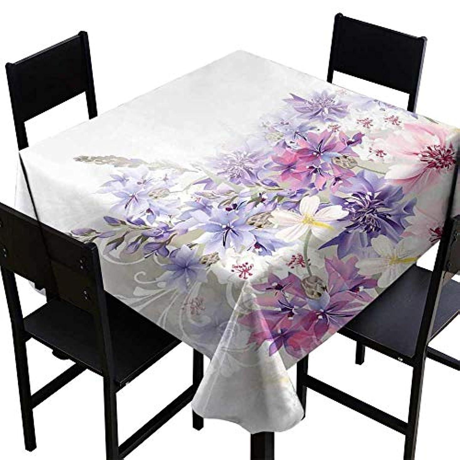 精査ミンチ欺くYSING ピクニックスクエアテーブルクロス ラベンダー 夢のような春の日 新鮮な花 アロマ デリケートな野の花 ラベンダーライラックグリーン レストランなどに最適 36 x 36 Inch(92cm*92cm)