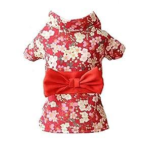 MinniLove 猫 犬 ペット用服 着物 浴衣 ペット用着物 可愛い シフォン 薄手春夏物 (梅柄着物-赤-M)