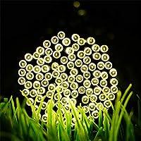 Nekovan ソーラーストリングライト、200 LED 8モードIP65防水妖精ライト屋外屋内パティオガーデンクリスマス装飾(マルチカラー、暖かい白) (Color : Warm white)