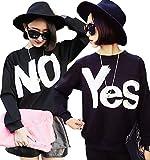 D&JINSTORE プリント Yes No 男女 兼用 お揃い ルームウエア や パーティー ロゴ 英字 長袖 ペアルック カップル トレーナー
