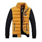 SemiAugust(セミオーガスト)メンズ 冬 綿服 ミクスカラーディザイン 防寒 保温 ファッションブルゾン アウトウェアコート 男性用 カラーはイエロー サイズは3XL