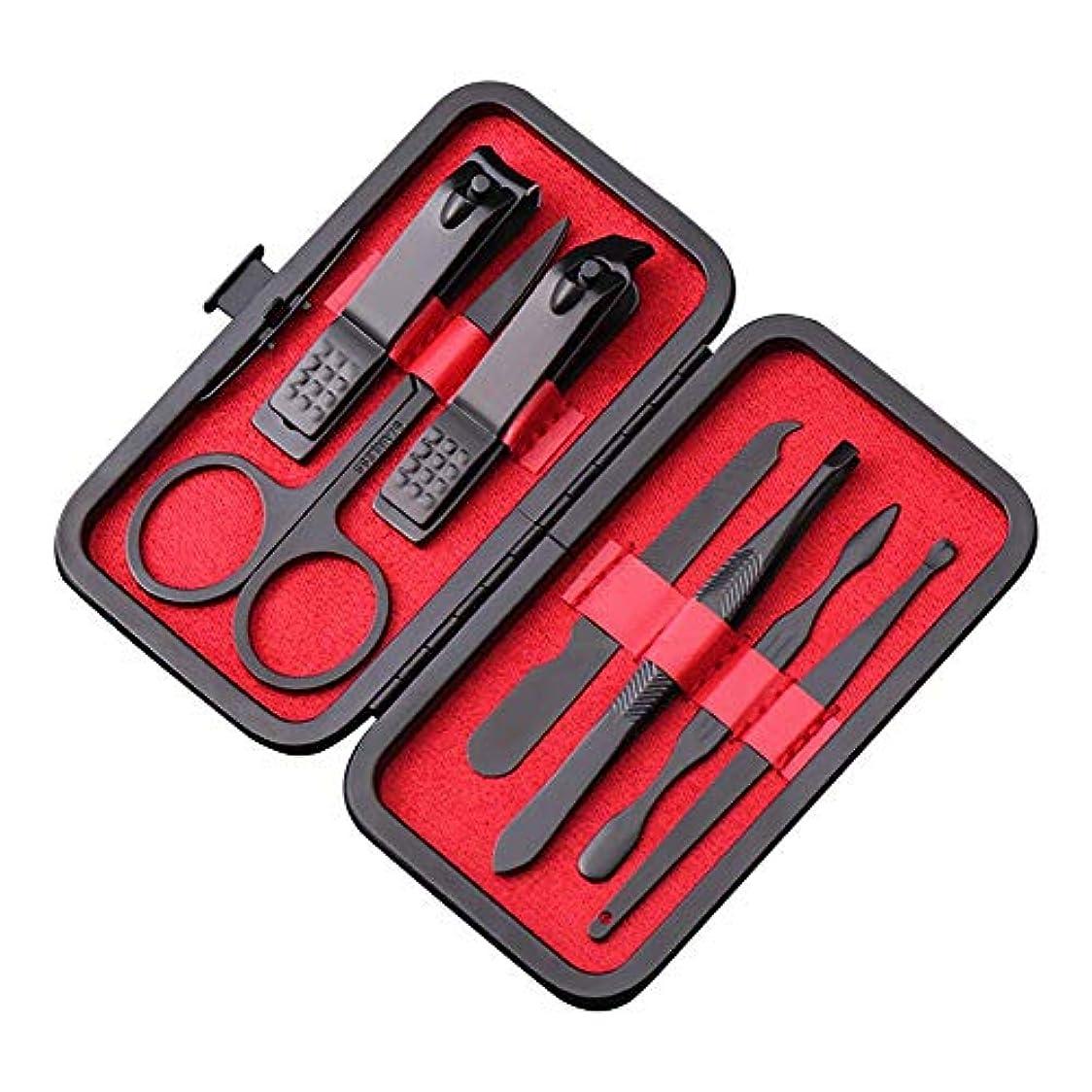牛モナリザメディアマニキュア ペディキュアキット 爪切りセット 7点セット プロのビューティキット ネイルハサミ 甘皮取り レザーケース付き 赤