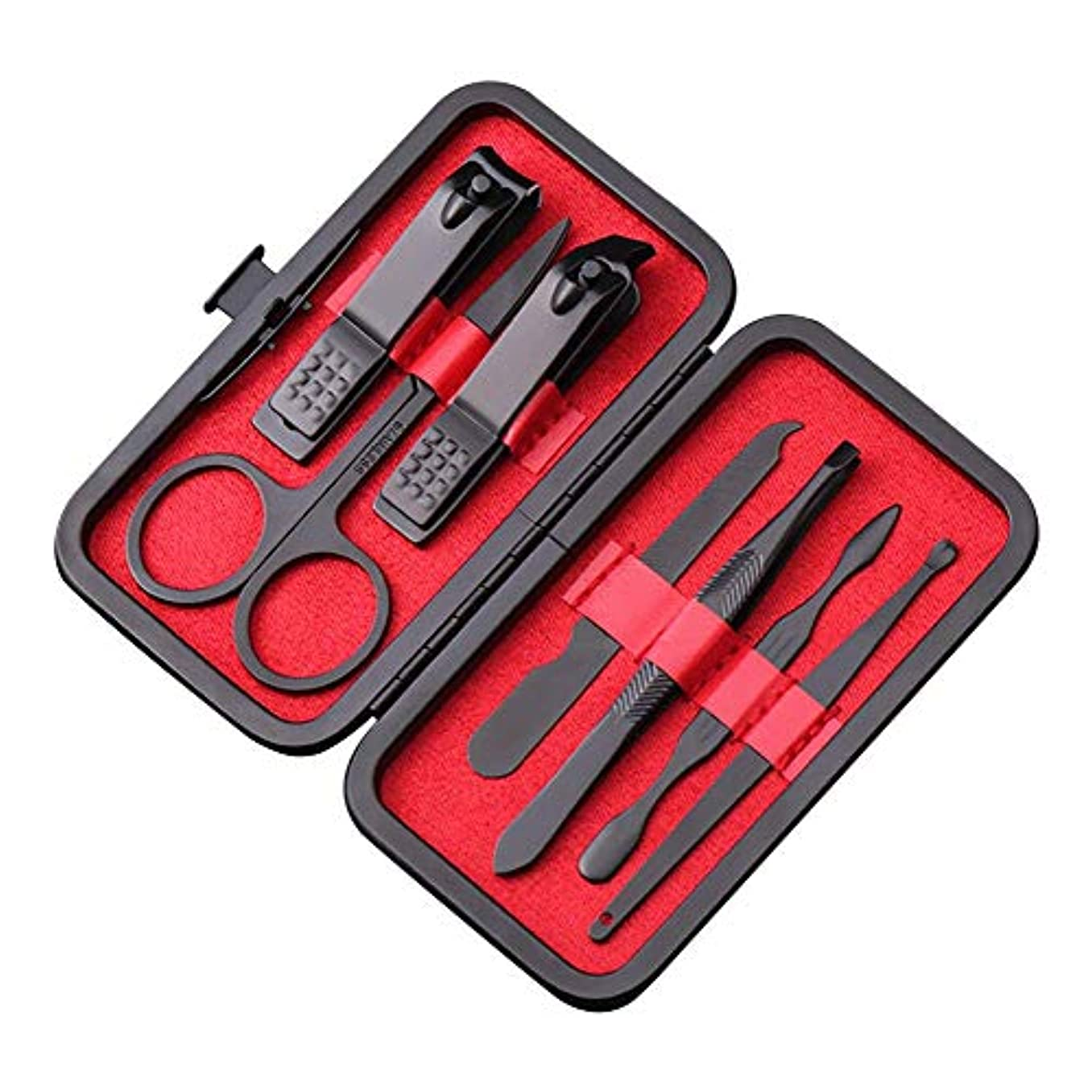 ハグ勃起増強マニキュア ペディキュアキット 爪切りセット 7点セット プロのビューティキット ネイルハサミ 甘皮取り レザーケース付き 赤