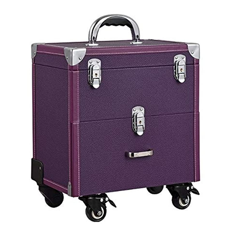 トラブル投資する妥協化粧箱、大容量ダブルポール化粧品ケース、ポータブル旅行化粧品袋収納袋、美容化粧ネイルジュエリー収納ボックス (Color : Purple)