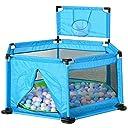 洗える ソフト ベビーサークル 軽量 倒れにくい 安全設計 ファスナー 扉 簡単組み立て <簡単に組み立て > 収納 六角形 誕生日プレゼント【5色】 (Blue/with basket)