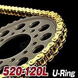 Big-One(ビッグワン) バイク ゴールド チェーン 交換 520-120L Oリング カシメジョイント 強化Type 21136