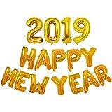 Bestoyard アルミ風船 happy new year 2019 バルーン 風船セット 32インチ 年越し お正月 飾り パーティー イベント デコレーション(ゴールド)