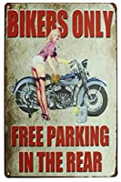 Sumik Bikers背面のみフリー駐車場のオートバイGirl、メタルTin Sign、ヴィンテージアートポスターPlaqueガレージホーム壁装飾