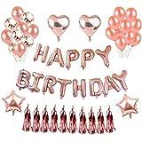 誕生日 飾り付け バルーン HAPPY BIRTHDAY 風船 バースデー デコレーション セットシャンパンカラー紙吹雪入れ バルーン パーティー お祝い(ローズゴールド)