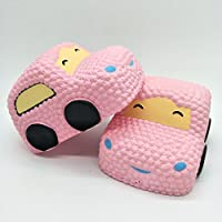 Slow Risingおもちゃ、Yuiop Decompression遅いリバウンドSqueeze Stress Relief Cartoon CarジャンボToys for Kids大人装飾ピンク
