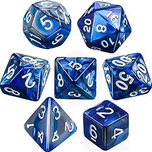 Yourandoll 7個 多面体のダイス サイコロ 2色 16mm D20 D12 D10 D8 D6 D4 Dungeons and Dragons 、DND、 TRPG、 MTGなどテーブルゲーム用 (ブルー シルバー)