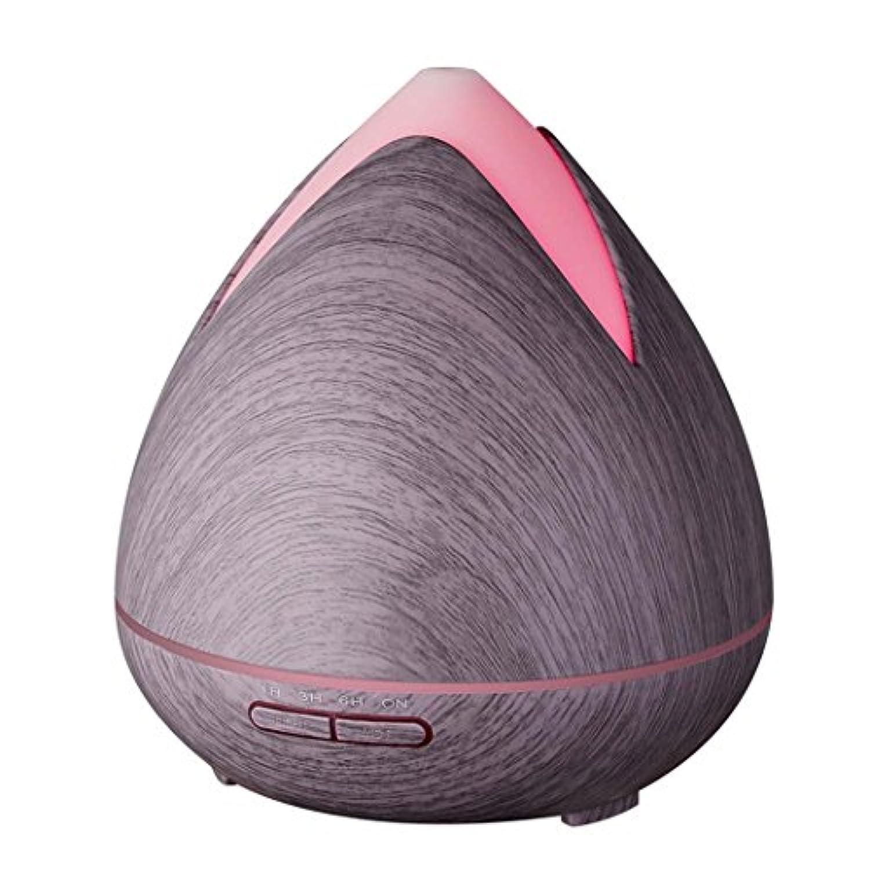 アロマエッセンシャルオイルディフューザーウッドグレイン7色のLEDライトを変更する超音波空気加湿器 (色 : Purple wood grain)