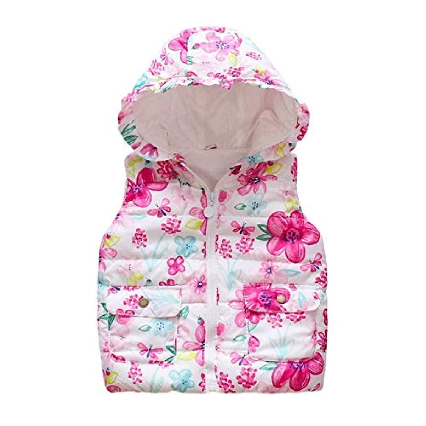ジュース発言する準備YAYARUNKA キッズベスト 女の子 チョッキ 子供コート 袖なし フード付き 花柄 秋冬 お出かけ 保温 防風 防寒着 温かい