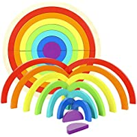 RTWAY レインボースタッカー 木製レインボー 積み木 幾何学模様 積み木 収納トレイ付き 学習玩具 子供 赤ちゃん 幼児用