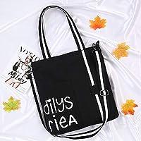 Student Tote Bag, Female Black and White Shoulder Strap High Capacity Canvas Shoulder Bag Shopping Travel Handbag (Black) Polykor