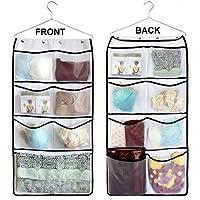 (ミスロ) MISSLO ハンギング式クローゼット用ダブルサイドブラ ストッキング 衣類 ソックスオーガナイザー 大サイズメッシュポケット15個 ホワイト