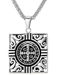 U7 ネックレスペンダント Saint Benedict Medal メンズ アクセサリー 316Lステンレス[GP2165]