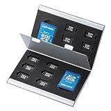 サンワサプライ アウトレット アルミメモリーカードケース(microSDカード用・両面収納タイプ)FC-MMC5MICN *箱にキズ 汚れのあるアウトレット品です