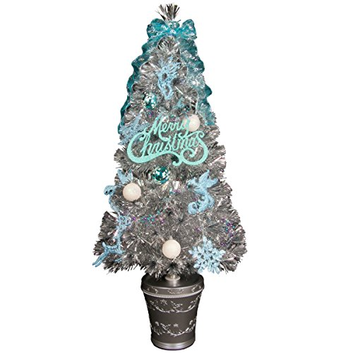 分割型 デラックス ファイバーツリー セット 120cm ライトブルー シルバーツリー LED光源 クリスマスツリー