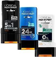 L'Oreal Paris Men Expert Shower Gel Trio - Total Clean, Hydra Power, Hydra Sensi