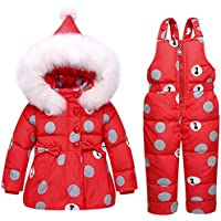 West Bay Baby Girls Winter Down Coats Snowsuit Outerwear 2Pcs Clothes Hooded Jacket Snow Ski Pants Outfits Set