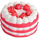Sannysis Mini Squishy Strawberry Cake Stress Reliever Squishy Slow Rising Cream Scented Decompression Cure Squishies Cheap Jumbo Squishies Pack Squishies Bread Squeeze Toy 6Cmラ3.5Cm (Red)