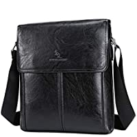 GMW Mens Messenger Bag, PU Leather Anti-Theft Shoulder Bag, Flapover Travel Purse Crossbody Bags with Adjustable Strap for Work Business School