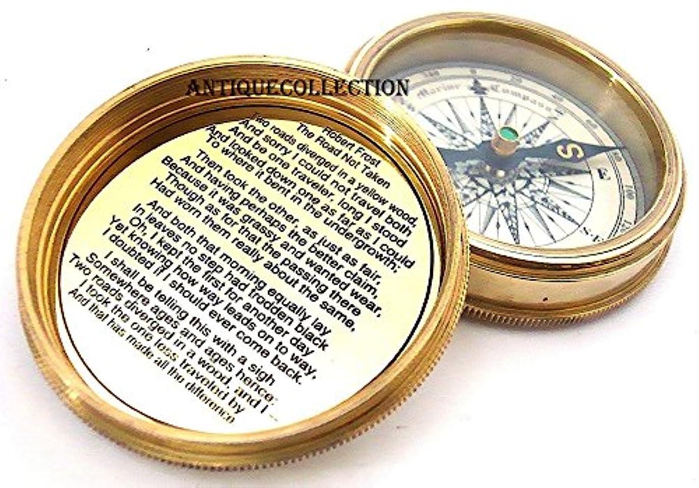 アミューズ補助堂々たるantiquecollection真鍮ポケットコンパス&レザーケースwithロバート?フロスト詩 – ポケットコンパス