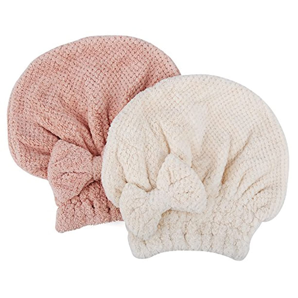 暗黙誇り染色KISENG タオルキャップ 2枚セット ヘアドライタオル 短髪の人向き ヘアキャップ 吸水タオル 速乾 ふわふわ お風呂 バス用品 (ピンク+ホワイト)