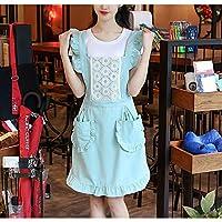 ファッション王女エプロンキッチン調理単層ホームウエストレディースオーバーオール (Color : Green)