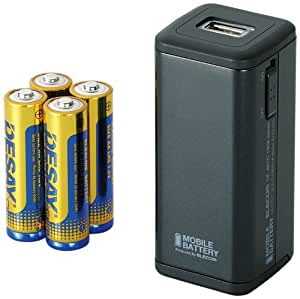 ELECOM iPhone5/iPod対応 モバイルバッテリー 単3形乾電池式 ブラック DE-A01D-1908BK
