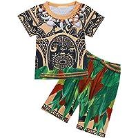 FEESHOW 2 Pcs Maui Toddler Little Boys Cartoon Printed Loose Pajamas Set Top Pants / Shorts Sleepwear