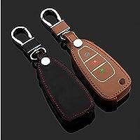 革車のキーカバーケースバッグキーholde用フォードフォーカスエスケープecosportフィエスタモンデオ3ボタン折りたたみ車のキーは暗闇で光る-ブラウン