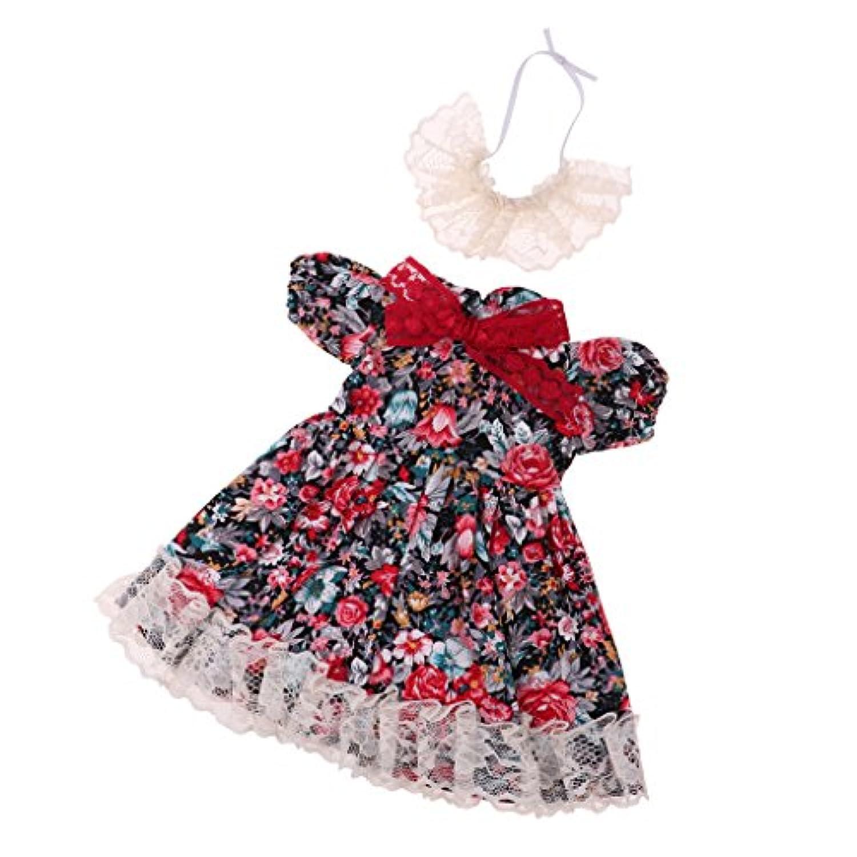 Fenteer 1/4スケールBJD人形アクセサリー レースドレス スカート ワンピース 帽子セット ドール服 布製