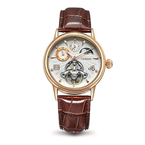 Time100 太陽と月と星 オートマチック 中空スケルトン 昼夜表示 夜光インデックス クラシックシリーズ メンズ レディース腕時計 #W60011M.03AN (ローズゴールデン)