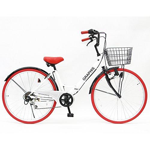GRAPHIS(グラフィス) 折りたたみ 自転車 シティサイクル 26インチ シマノ製6段ギア GR-CITY ホワイト/レッド
