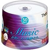 太陽誘電製 That's CD-R音楽用 24倍速80分 ワイドプリンタブル スピンドルケース50枚入 CDRA80WWY50B