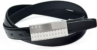 [クリサンドラ] ベルト メンズ トップ式 バックル レザーベルト エナメル ビジネスベルト 本革 100cm サイズ調節 可能 ブラック トップ式バックル ブランド