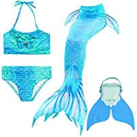 BESTYLING Girl Mermaid Tails for Swimming, 4PCS Sparkle Mermaid Tail Swimsuit with Monofin