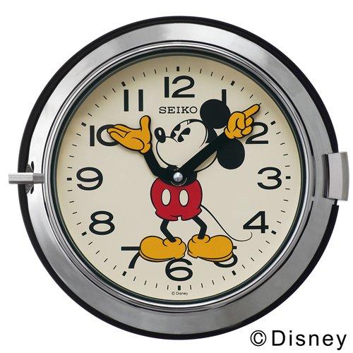 SEIKO CLOCK(セイコークロック) ディスニー ミッキーマウス 大人ディズニー クオーツ掛時計(スチール・銀色) FS504S FS504S