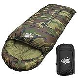 丸洗いのできる寝袋 封筒型 最低使用温度 -15℃ コンパクト収納袋付き シュラフ 寝袋 オールシーズン (迷彩)